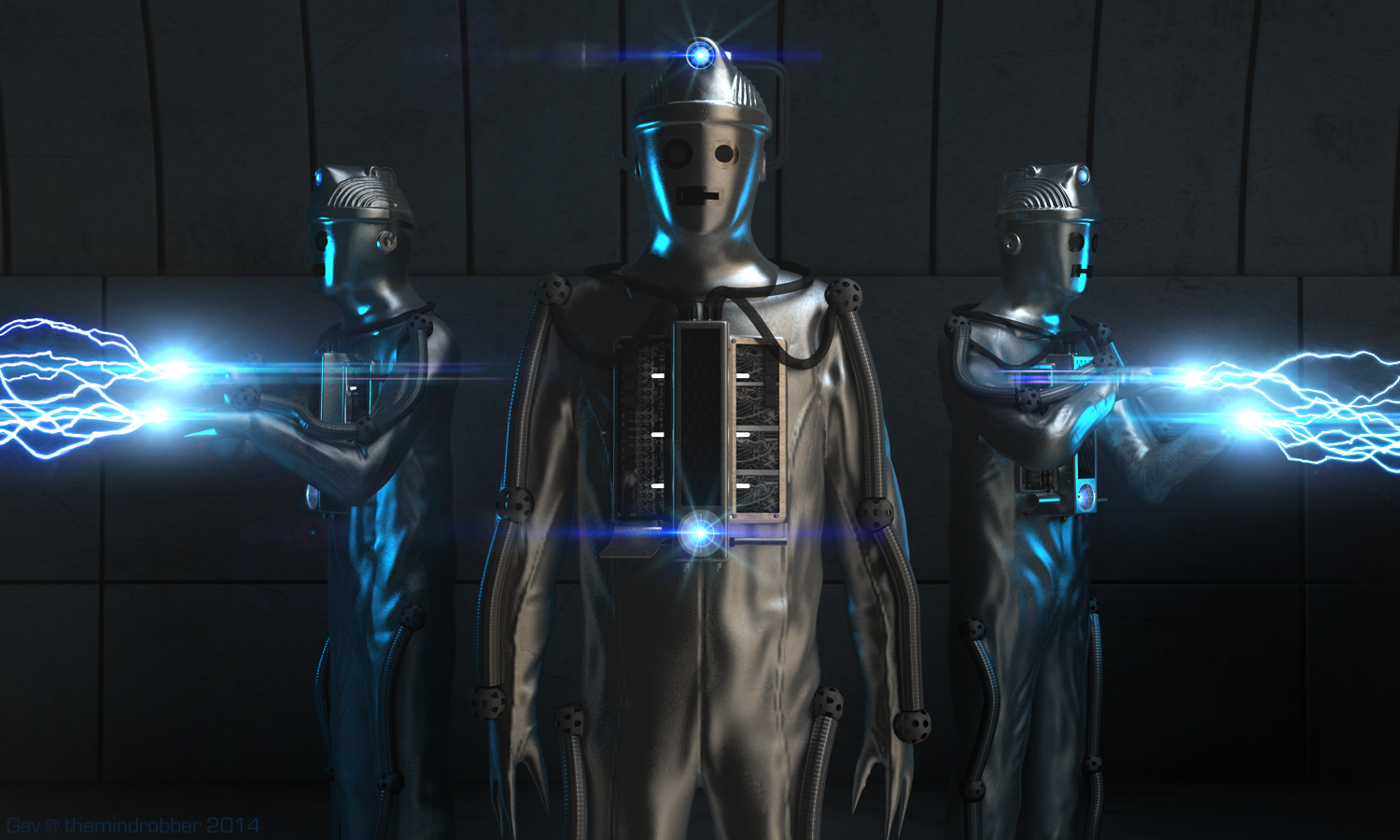 Moonbase Cyberman shoot Electricity Artwork
