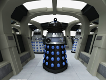 Masterplan Daleks explore a space station corridor