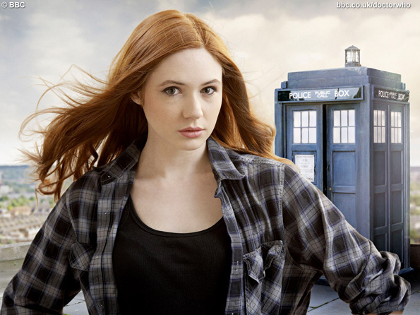 Karen Gillan as Amy Pond (pictured with the old TARDIS prop)