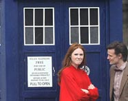 Matt Smith as the Eleventh Doctor and Karen Gillan as Amy Pond outside the TARDIS