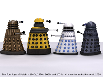 Comparison of old and new Daleks with 2010 Daleks