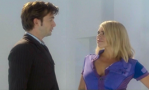 David Tenant about to get a shock from Rose