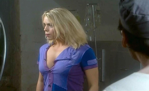 Rose (Billie Piper) admiring her front