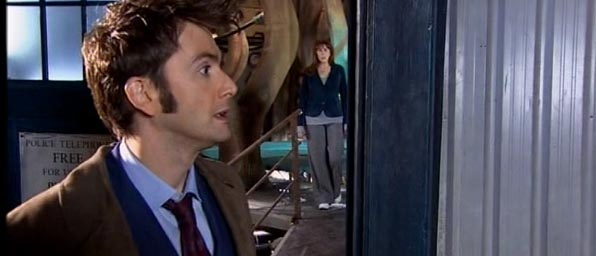 The Doctor and Martha leaving the TARDIS